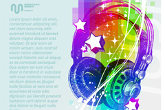 Colorful headphone illustration vector