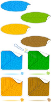 Link toColorful leaf stickers vector templates