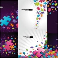 Link toColorful puzzle pieces theme vector background