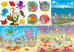 Colorful sea life vector