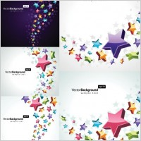 Link toColorful threedimensional star background vector