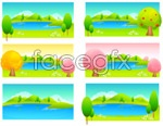 Colorful trees and lakes vector