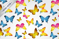 Link toColorful watercolor butterfly seamless vector background illustration