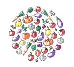 Link toColoring vegetables circular background vector