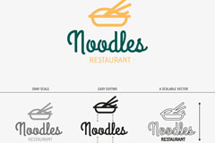 Coloured noodle logo vector