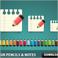 Link toColoured pencils with notes icon psd