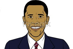 Link tovector obama of portrait Comic-style