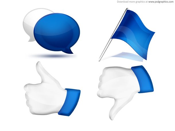 Link toComment, flag, thumbs up and down, social icons set (psd)
