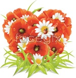 Link toComposed of flowers, heart-shaped vector