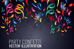 Link toConfetti with paper and ribbon background vector