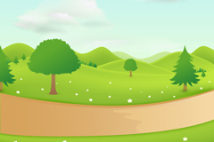 Link toCountry road landscape of cartoon vector