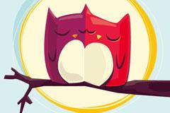 Link toCouples cartoon owl vector