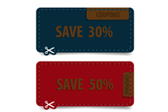 Link toCoupons 3 colour vector