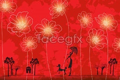 Link tovector background flower red a of design Cover