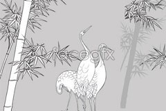 Link toCranes and bamboo line drawing vector