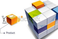 Link toCreative 3d rubik's cube world and little vector