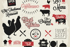 Creative and livestock products tag vector