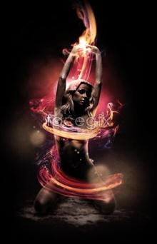 Link toCreative beautiful flames surrounding psd