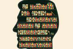 Creative brains shelves vector