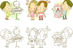 Link toCreative cartoon lovers vector