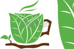 Link toCreative coffee cup made up of green leaf vector