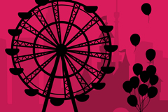 Link toCreative ferris wheel with balloon silhouette vector background