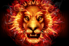 Creative flame lion head vector