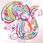 Link toCreative floral hair with woman vector 01 free