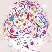 Link toCreative floral hair with woman vector 02 free