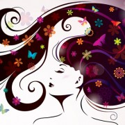 Link toCreative floral hair with woman vector 04 free