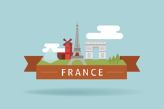 Link toCreative france famous ribbon tag vector