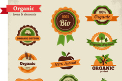Creative organic product labels vector
