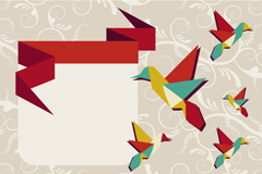 Link toCreative origami hummingbird background vector