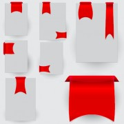 Creative red ribbons bookmarks vector set 01 free