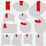 Creative red ribbons bookmarks vector set 03 free