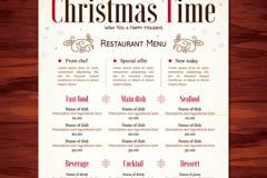 Creative restaurant menus for christmas vector graphics