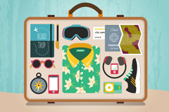 Creative suitcase inside vector