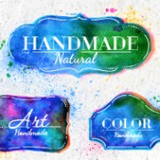 Link toCreative watercolor labels vector 03 free