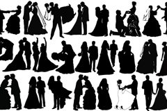 Link toCreative wedding couple silhouette vector