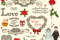 Link toCreative wedding decoration patterns vector