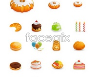 vector cake birthday candles icon pastries Croissant