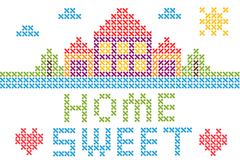 Link toCross stitch cartoon houses vector