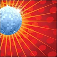 Link toCrystal ball and disco light background radiation vector