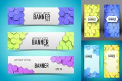 Link toCubic honeycomb decorative banner vector