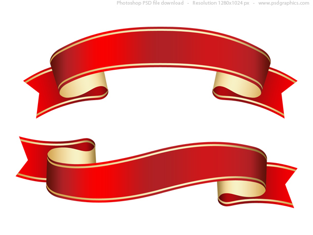 Link toCurled red ribbon (banner), psd template