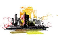 Link toCurrent city silhouette vector two