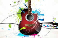 Current guitars splash-ink illustration vector