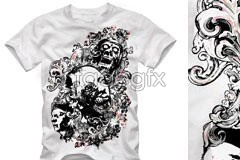Link toCurrent terror skull t shirt pattern vector