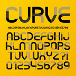 Curved letters vector