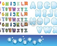 Link toCute alphabet font letters in english text vector